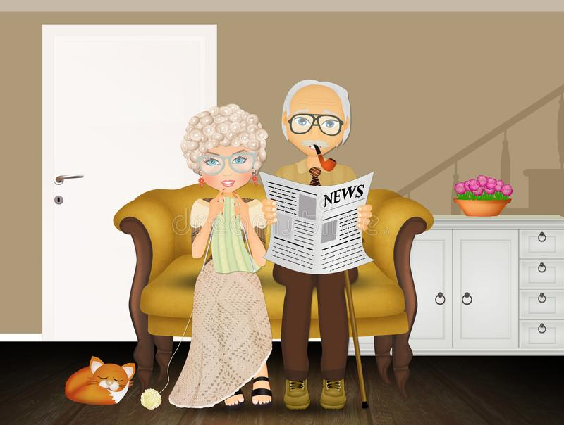 Grandparents on the couch. Illustration of grandparents on the couch royalty free illustration