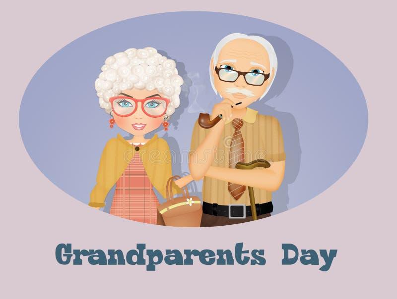 Illustration of grandparents. Funny illustration of grandparents day postcard royalty free illustration