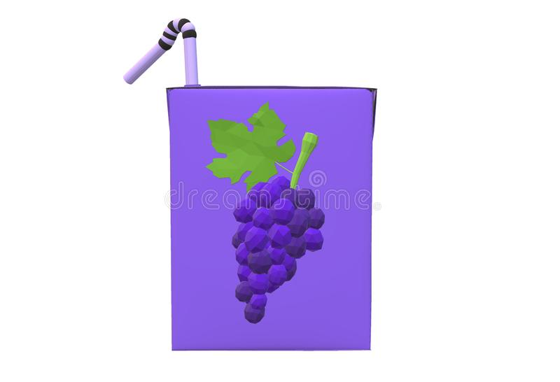 An illustration of a grape juice packaging in purple royalty free stock photography