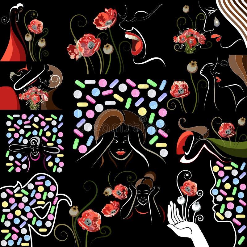 Illustration graphique avec des opiacés décoratifs 12 illustration libre de droits