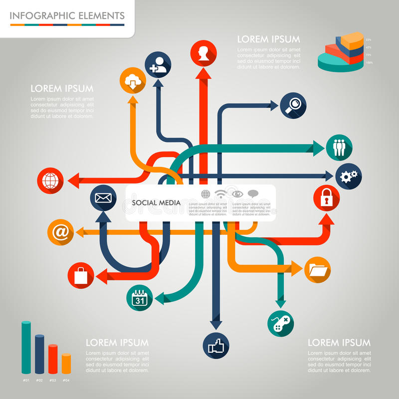 Illustration graphique d'éléments de media de calibre social d'Infographic. illustration de vecteur