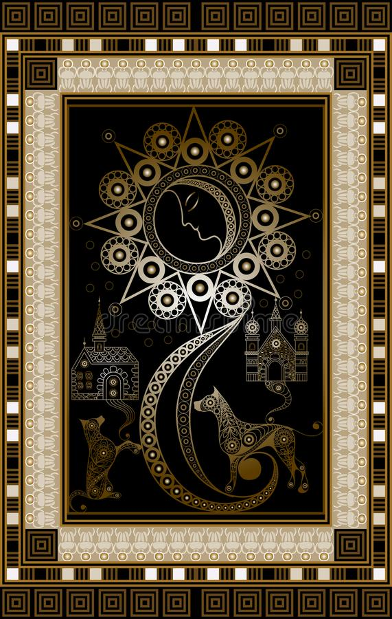 Illustration graphique d'une carte de tarot 3 illustration stock