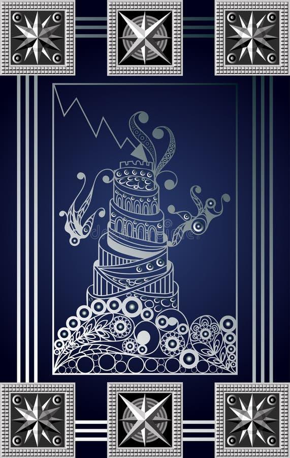 Illustration graphique d'une carte de tarot 7_2 illustration libre de droits