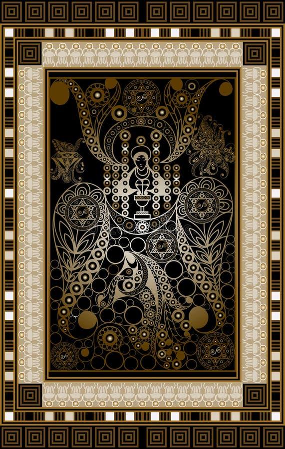 Illustration graphique d'une carte de tarot 8 illustration stock