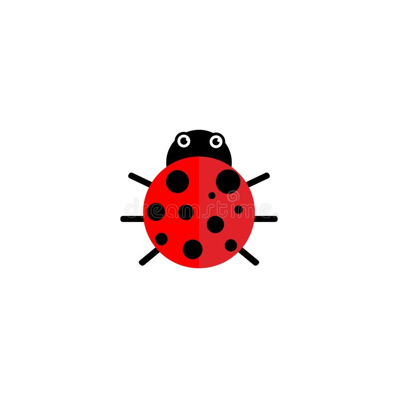 Illustration graphique de coccinelle ou de coccinelle, d'isolement Conception plate simple mignonne de scarabée de dame noir et r illustration de vecteur