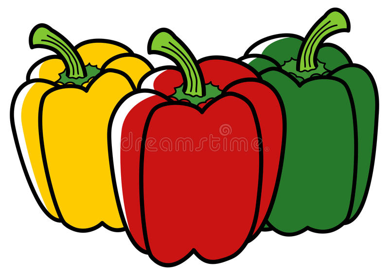 Illustration graphique de paprika dans trois couleurs différentes illustration stock