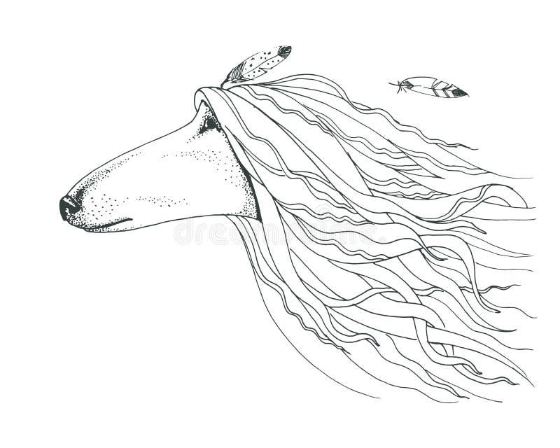Illustration graphique de point de stylo Tête animale du ` s Tête W du ` s de chien de vecteur illustration stock