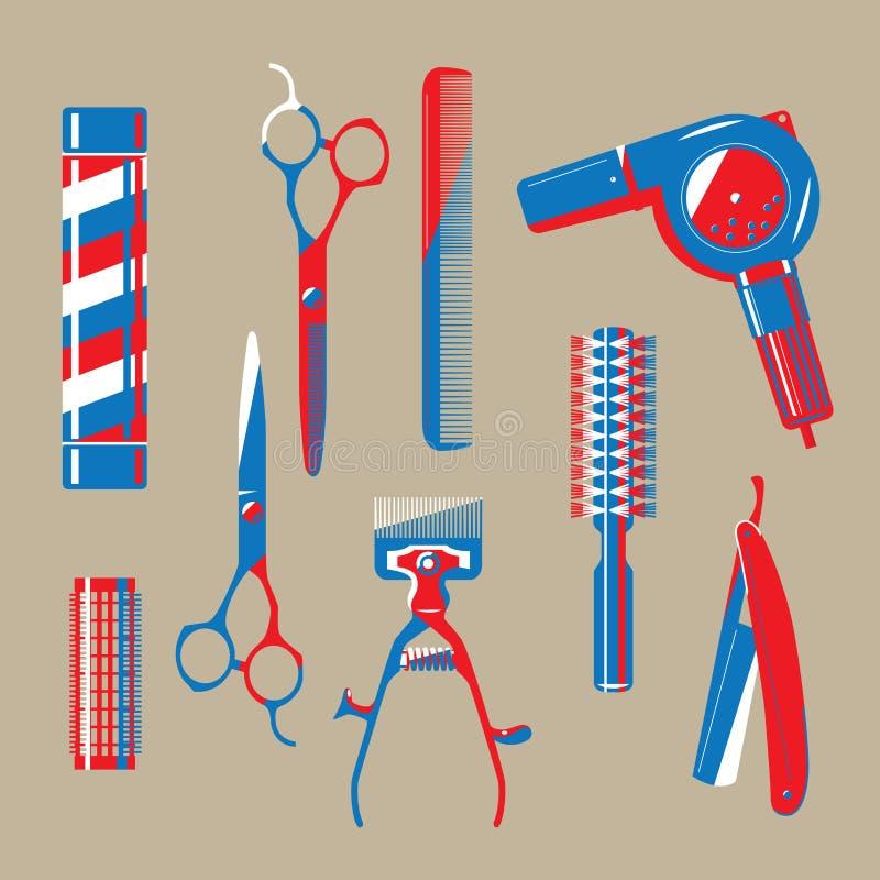 Illustration graphique des articles de raseur-coiffeur de cru illustration de vecteur