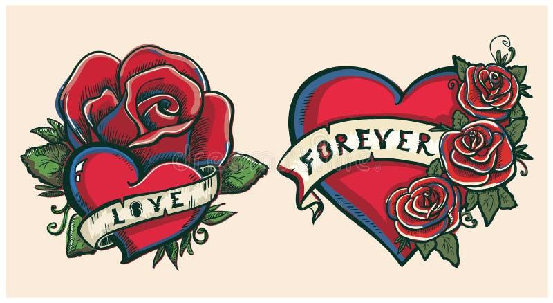 Illustration graphique tirée par la main de vieille école avec des coeurs, des roses et des rubans illustration stock