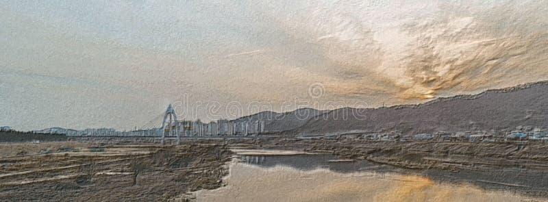 Illustration gravure à l'eau-forte de crayon de pont de Daeduk illustration stock