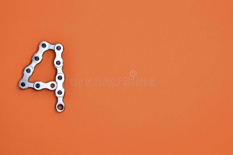 Illustration of Gray Metal Chain in 4 Digit Form royalty free stock photo