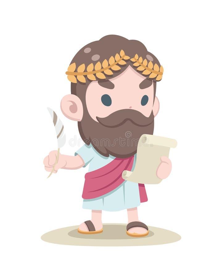 Illustration grecque mignonne de document de lecture de chercheur illustration de vecteur