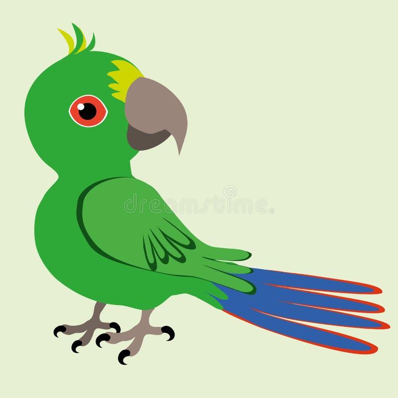 An Illustration of a green cartoon parrot royalty free illustration