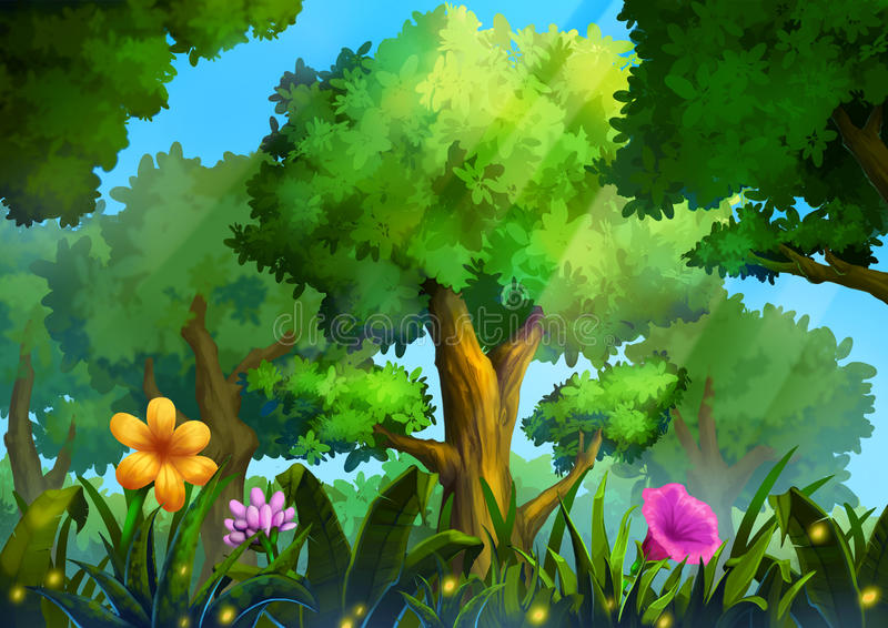 Illustration: Green Forest With Deep Grass and Magical Flowers. Realistic Cartoon Style Scene / Wallpaper / Background Design vector illustration