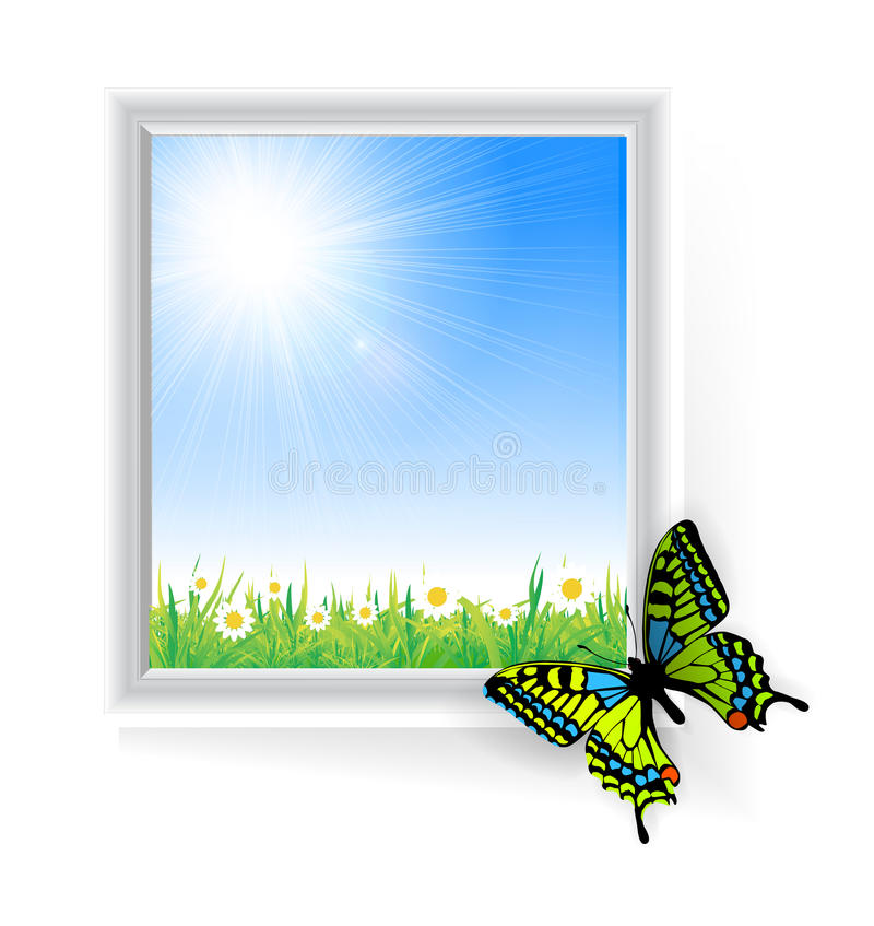 Illustration of green grass with a butterfly stock illustration