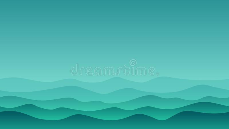 Green Hill Landscape with green wave royalty free illustration