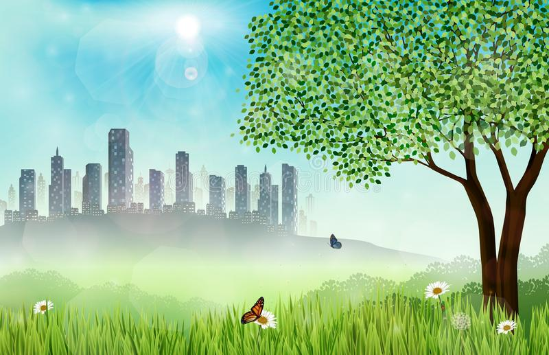 Green meadow background with construction site. Illustration of Green meadow background with construction site vector illustration