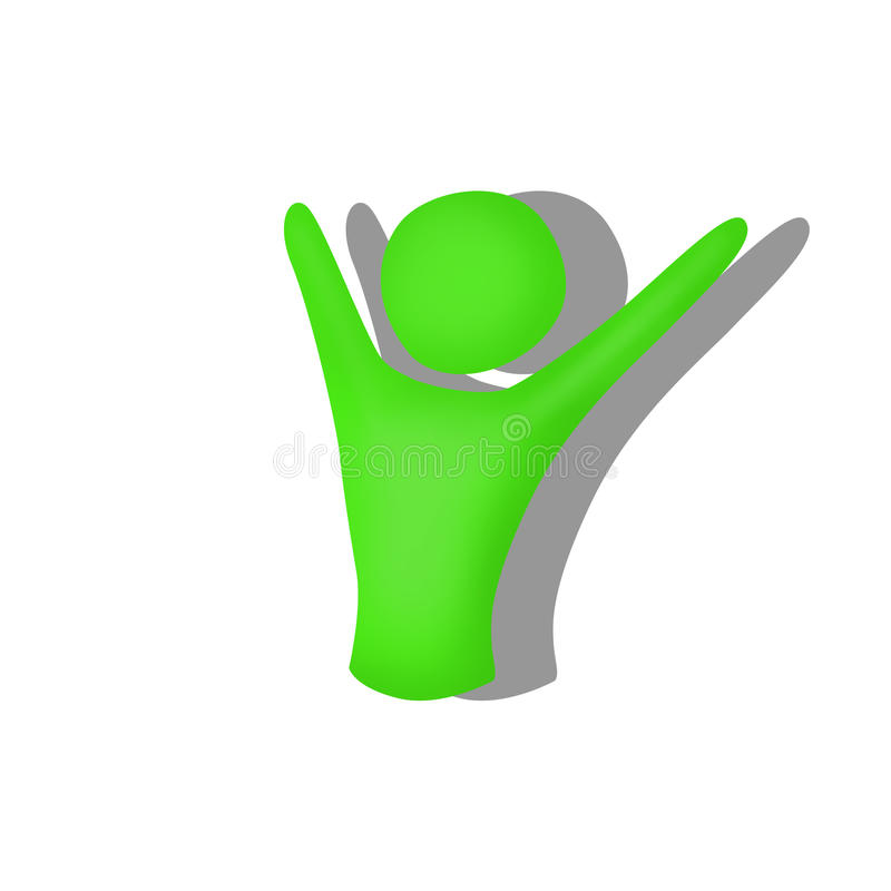 Illustration of green silhouette man with hands up royalty free illustration