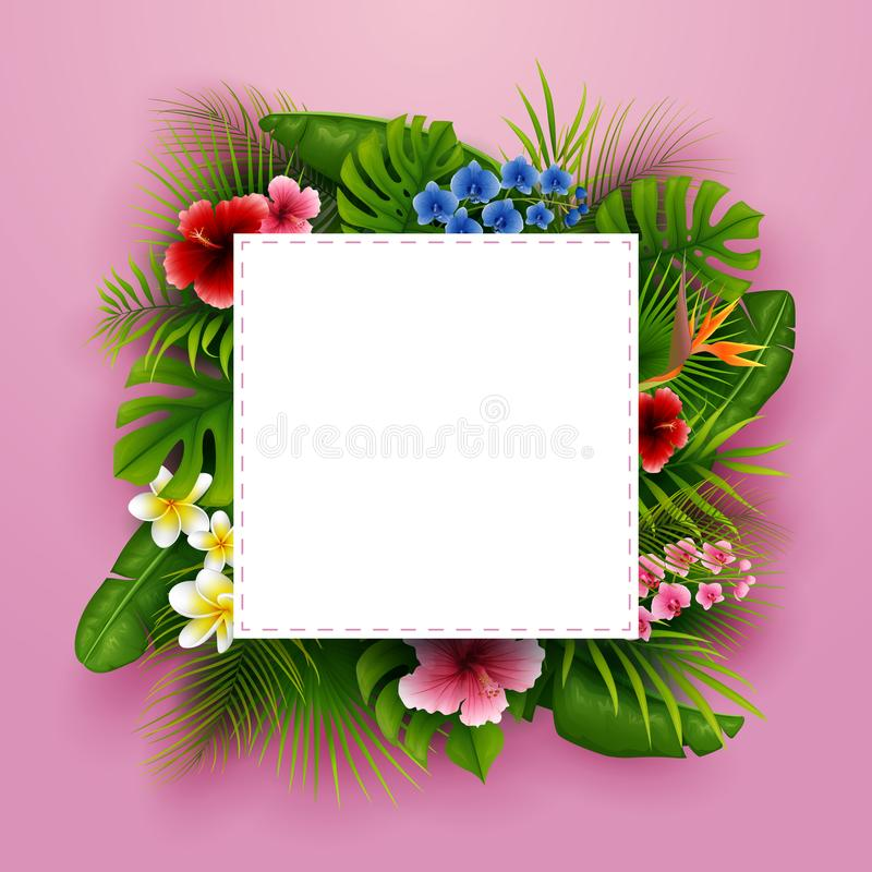 Green summer with tropical leaves and flowers. Vector pink background. Illustration of Green summer with tropical leaves and flowers. Vector pink background vector illustration