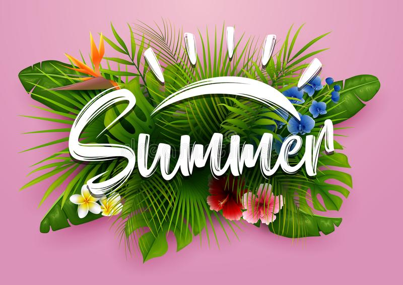Green summer with tropical leaves and flowers. Vector pink background. Illustration of Green summer with tropical leaves and flowers. Vector pink background stock illustration