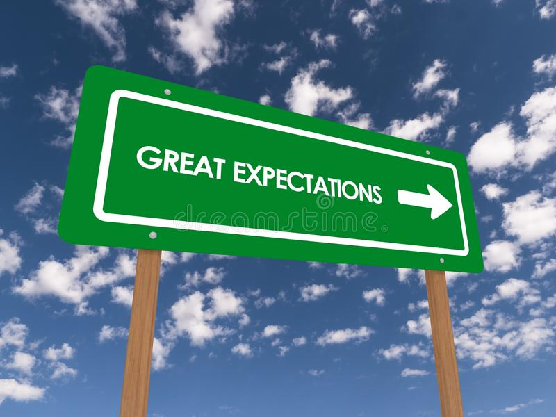 Great expectations sign. An illustration of a green traffic sign with the text great expectations and directional arrow stock photography