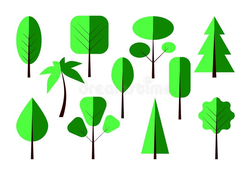 Illustration of green trees different types. Vector. Flat style. royalty free illustration