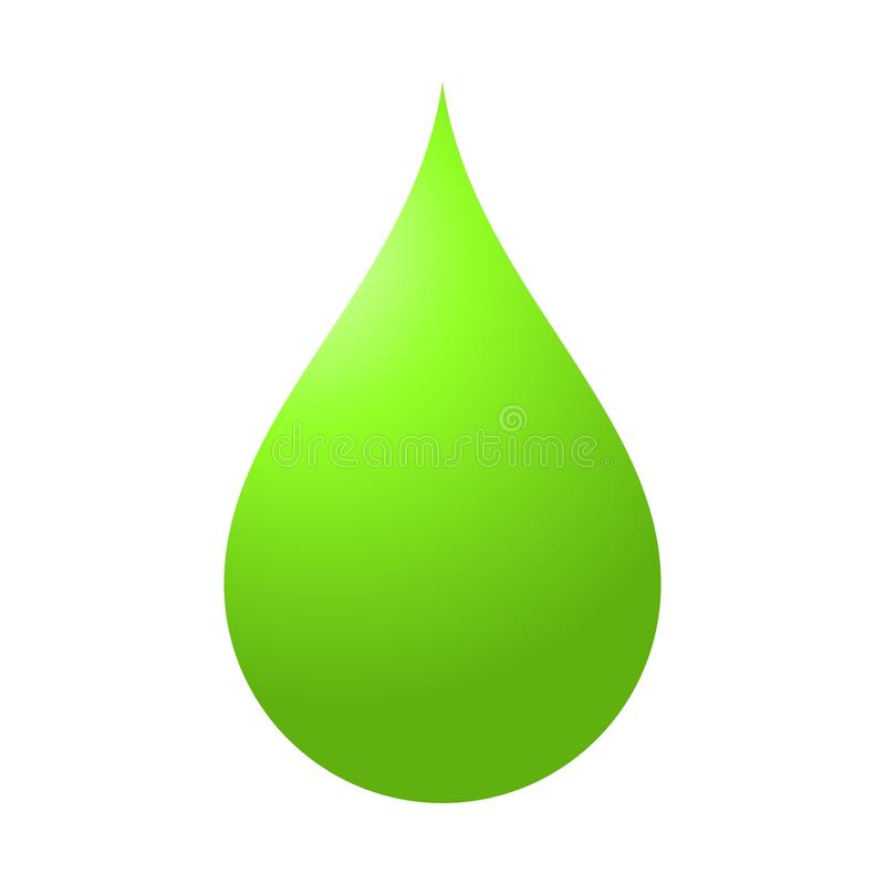 Illustration of green water drop on white background.Flat color stock photo