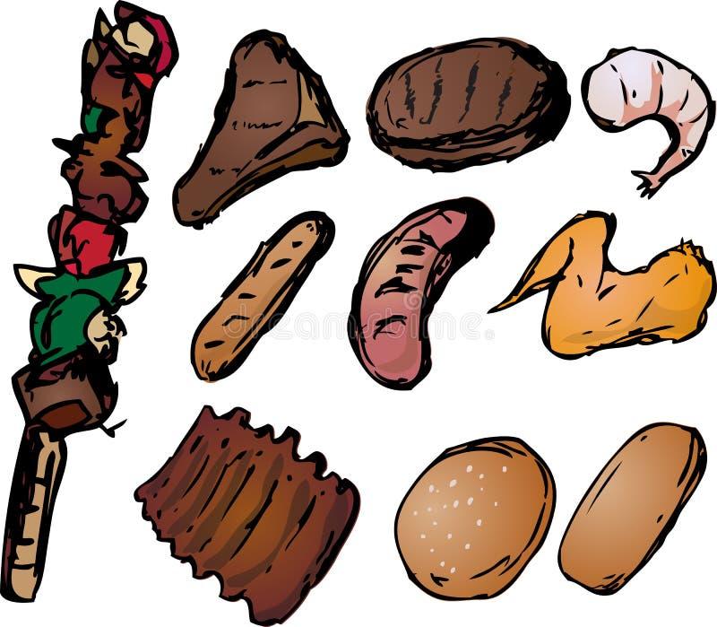 Illustration grillée tout entier de viandes illustration de vecteur
