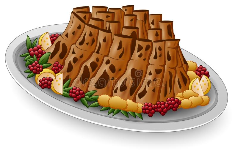 Grilled spare ribs with lemon and berries on white plate vector illustration