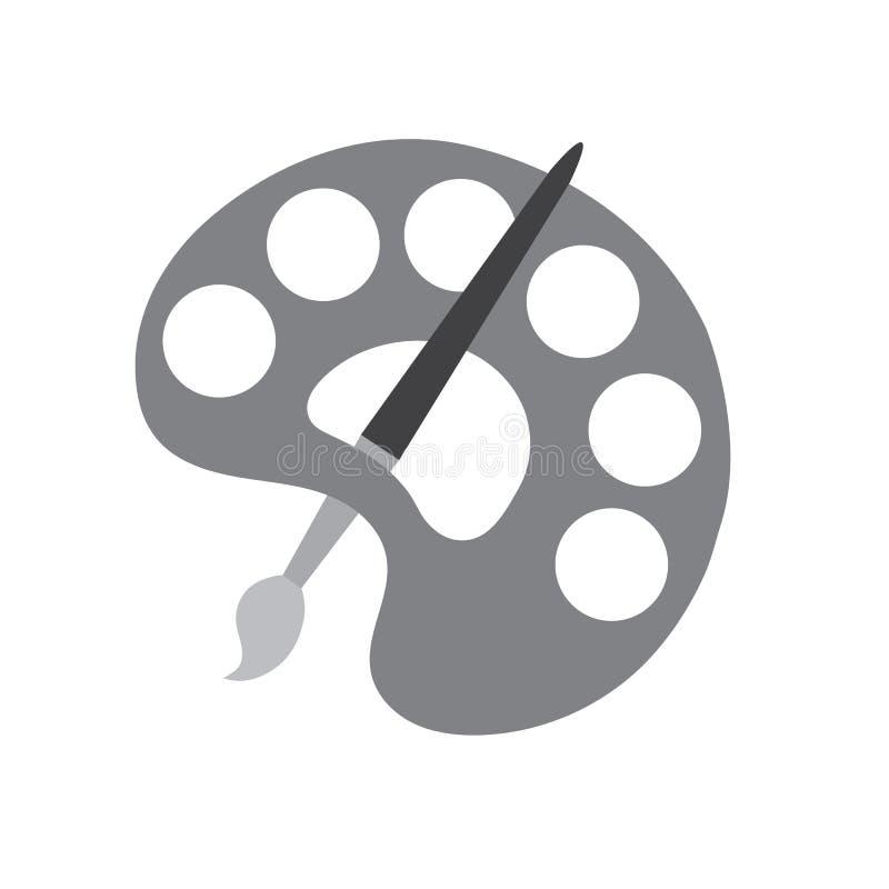 Illustration grise de vecteur d'icône de pallette et de brosse illustration libre de droits