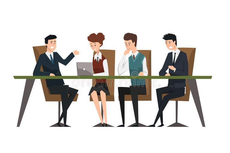 Group business people working in office. Men dressed in classic black suits and ties. Assistant work on laptop. Illustration of group business people working in stock illustration