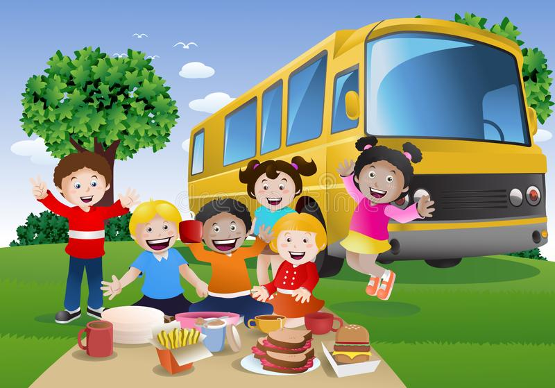 illustration of a group of children in front rv bus ready to school vacation stock illustration