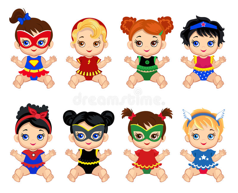 Illustration group of cute babies girls in costumes of superheroes. vector illustration