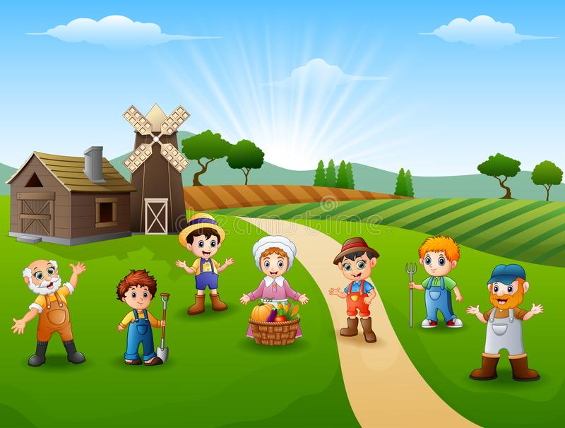 Group farmers and gardener at the farm stock illustration