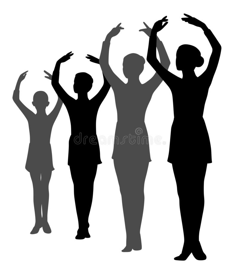 Group of ballerinas girls standing in a row with raised hands. Illustration of group of four ballerinas girls standing in a row with raised hands. Isolated white vector illustration