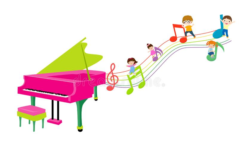 Group of Kids and piano vector illustration