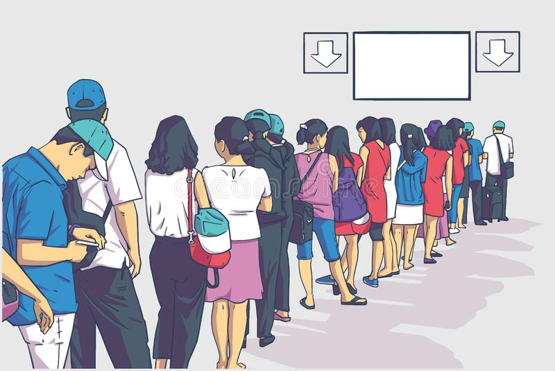 Illustration of crowd of people standing in line in perspective. Illustration of group of people standing in line at registration, ticket booth, public transport vector illustration