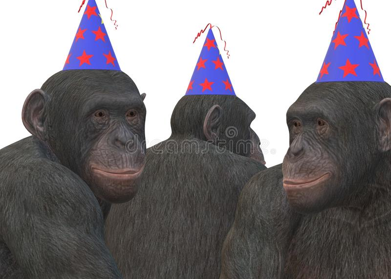 An illustration of a group of three primate monkeys wearing colorful party hats against a white backdrop royalty free stock photo