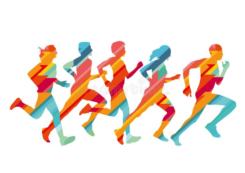 Group of colored runners royalty free illustration