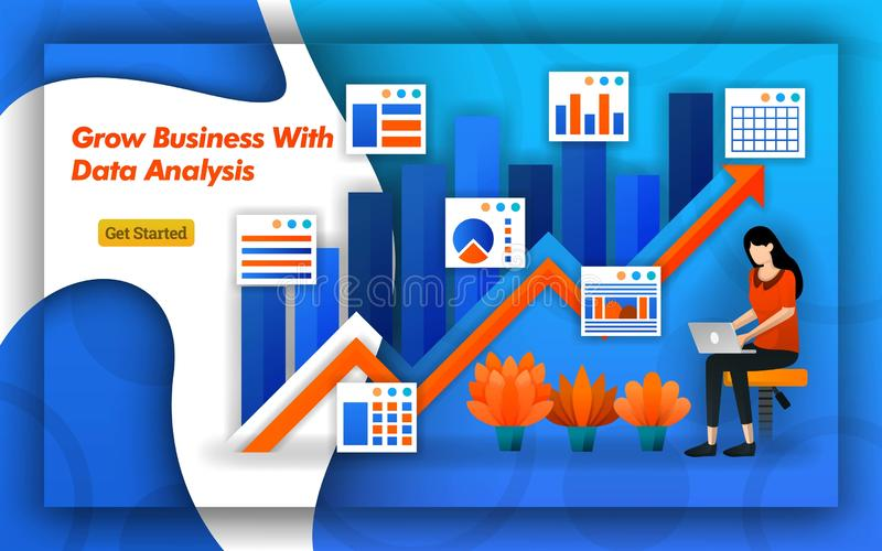 Illustration of Grow Business with data analysis. up arrow indicates sales and trafic. Professional accounting provide virtual boo. Kkeeping services for all vector illustration
