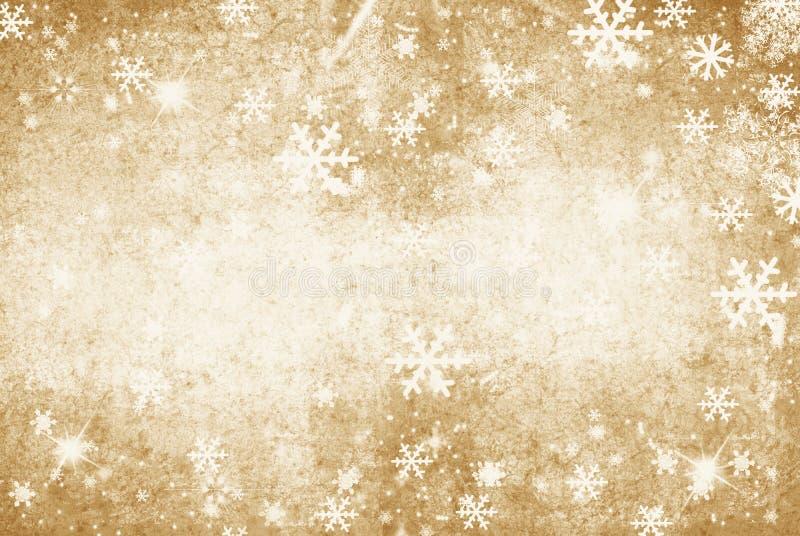 Illustration grunge d'or d'un fond d'hiver avec des flocons de neige illustration de vecteur