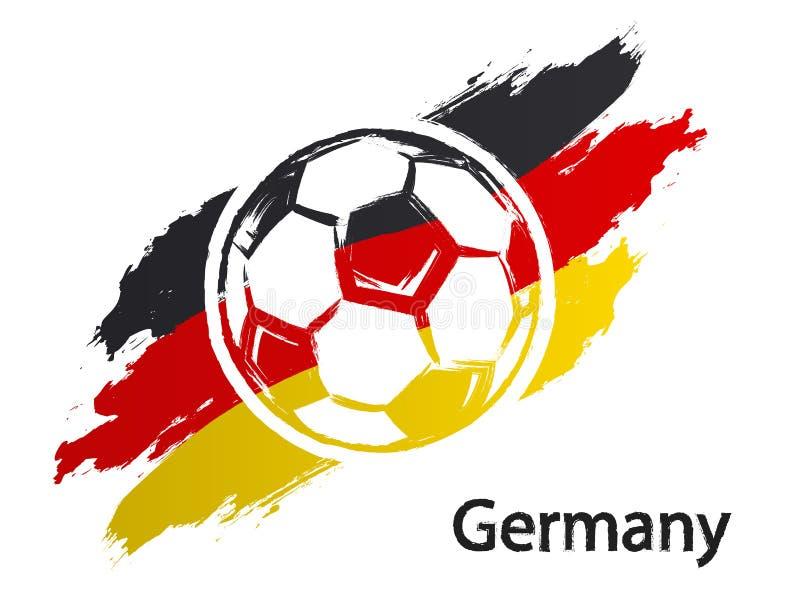 Illustration grunge de vecteur de style de drapeau de l'Allemagne d'icône du football d'isolement sur le blanc illustration libre de droits