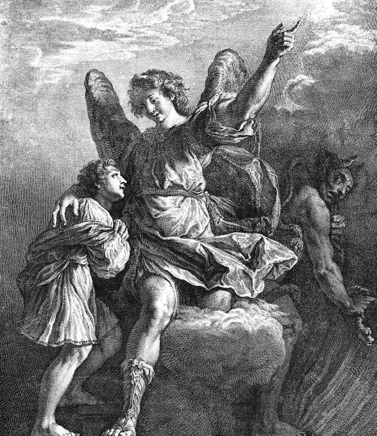 Illustration of a guardian angel. stock illustration