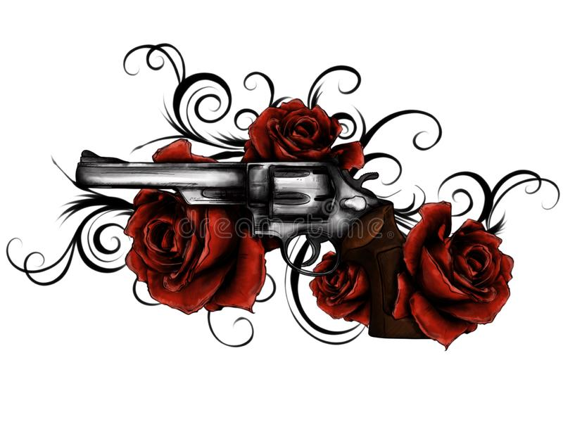 illustration of guns on the flower and ornaments floral with tattoo drawing style stock illustration