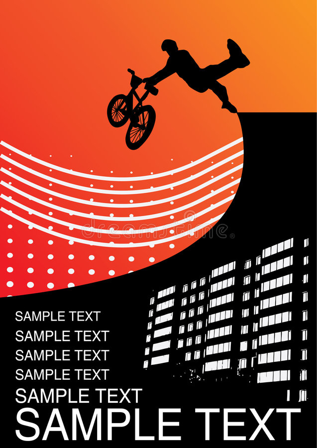 Illustration with guy on a bmx. Vector wallpaper royalty free illustration