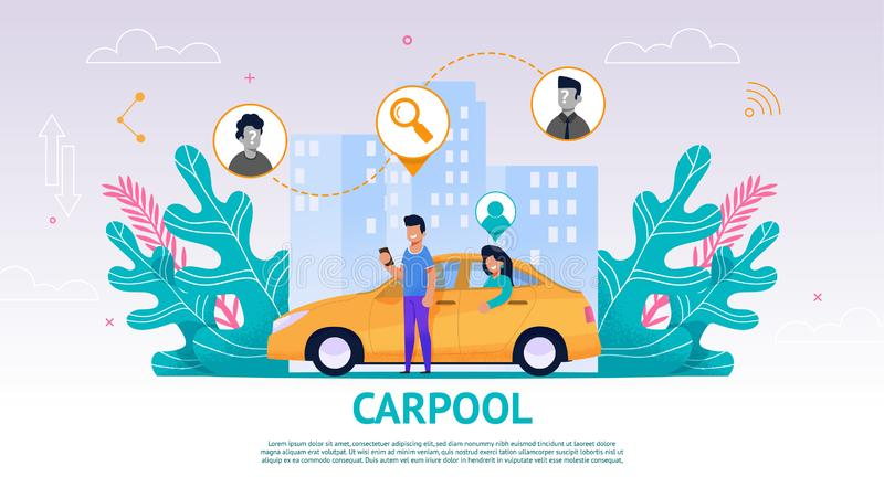 Illustration Guy and Girl in Yellow Car, Carpool. Vector Image Young Man Watching an Application Mobile Phone Search Fellow Traveler. Happy Woman Sitting Back royalty free illustration