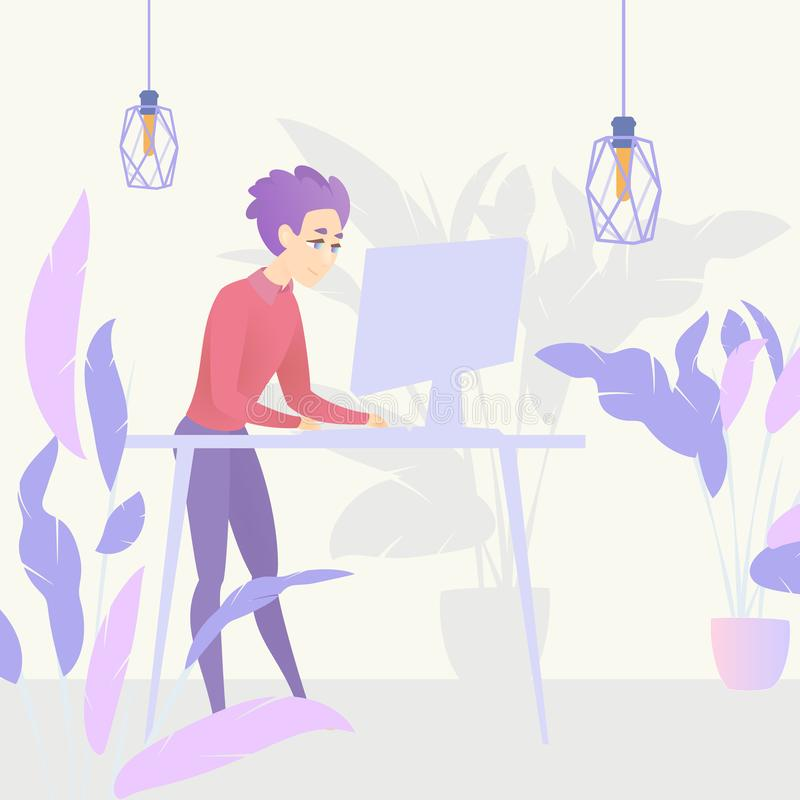 Illustration Guy Standing Table Working Computer. Vector Image Young Male in Workflow Working on Project Using Desktop Computer. Workplace Specialist Business stock illustration