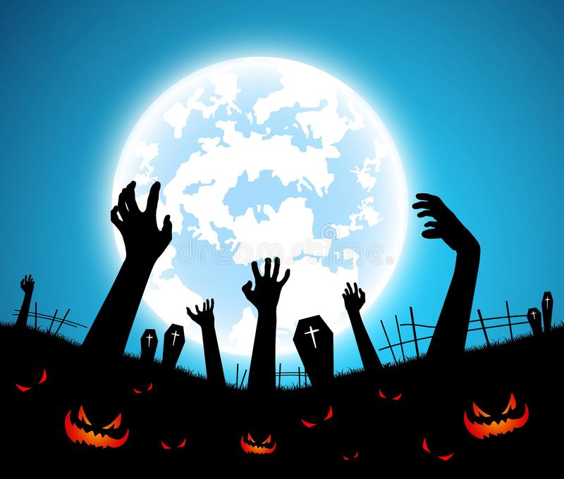 Illustration halloween festival background,full moon on dark night with zombie hand up from the grave stock photos