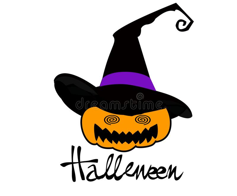 Illustration of Halloween pumpkin with witch hat on white background. stock illustration