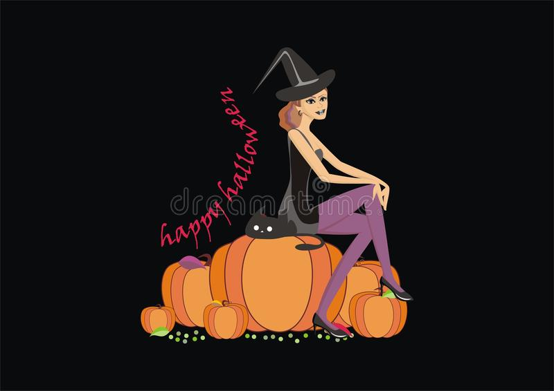 Illustration of Halloween witch on a pumpkin with a black cat royalty free illustration
